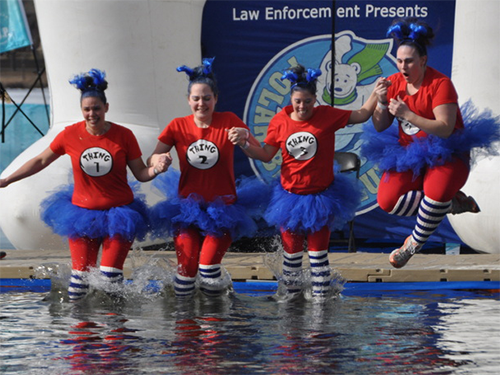 Group of Minneapolis Polar Plunge participants in costumes jumping into lake