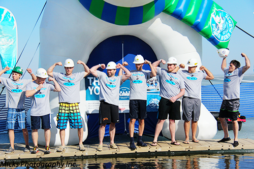 Group of Mille Lacs Polar Plunge participants wearing construction hats