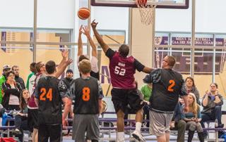 A Special Olympics Minnesota team plays basketball