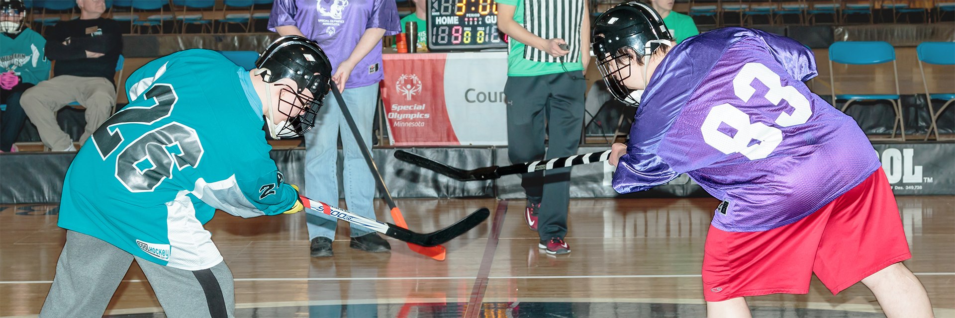Two Special Olympics Minnesota square off on the poly hockey court