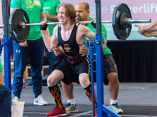 A Special Olympics Minnesota powerlifting athlete
