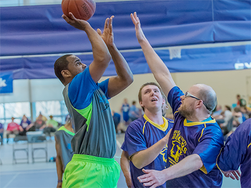 Special Olympics Minnesota athletes play basketball