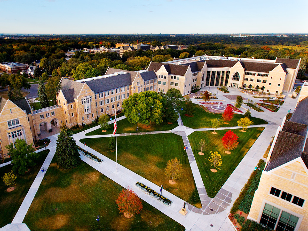 Aerial view of the University of St. Thomas campus