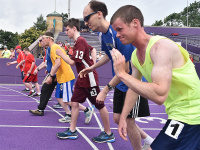 Special Olympics Minnesota athletes line up on the track for an event at 2018 Summer Games