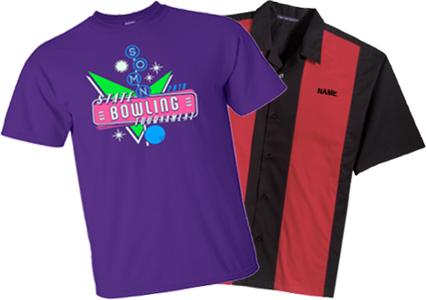 Pictures of the fronts of two 2018 State Bowling Tournament shirts