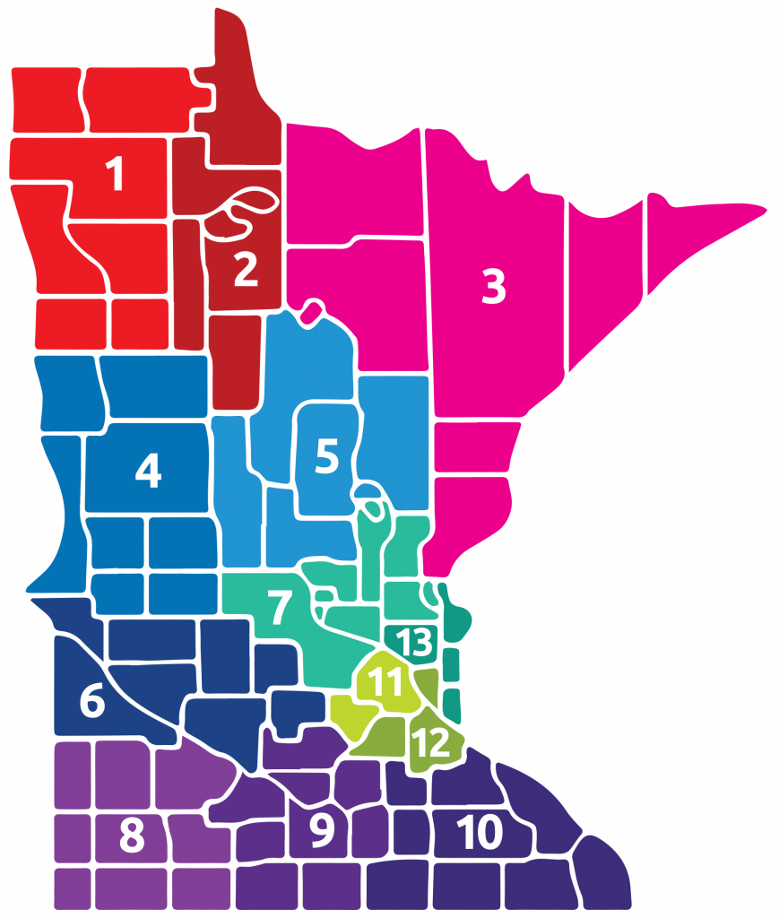 Map of Minnesota showing the different Special Olympics Minnesota Areas of the state